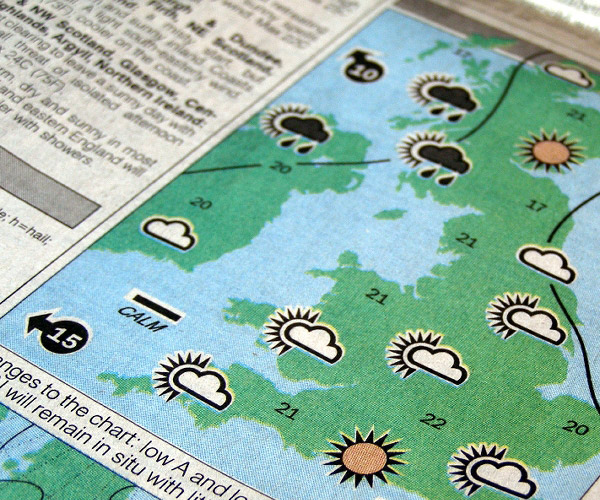 weather section of a newspaper