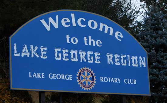 sign that says Welcome to the Lake George Region