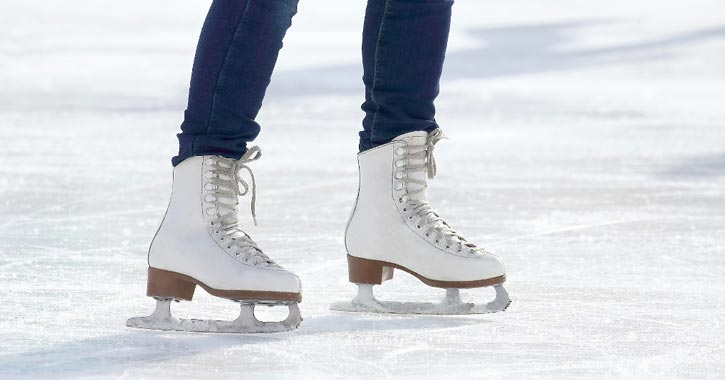 two white ice skates