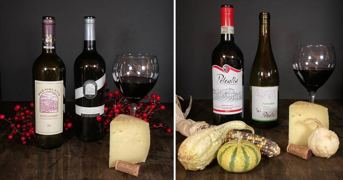 split image with wine and cheese sets