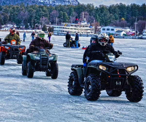 atvs on lake george ice