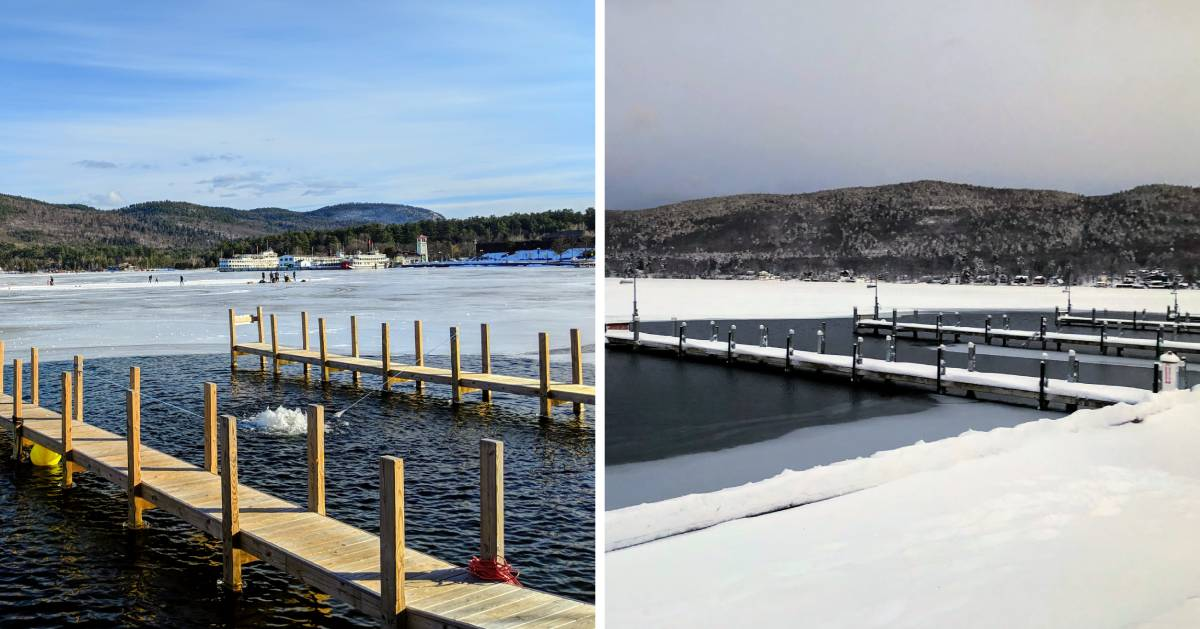 split image of different photos of docks in the winter