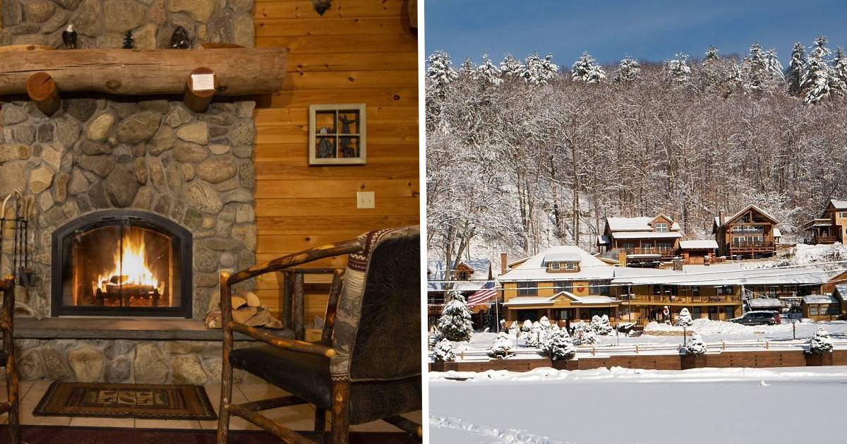 split image with fireplace on left and cabins in snow on right