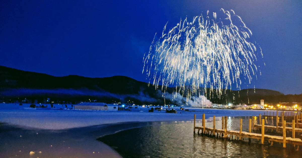winter fireworks over the lake