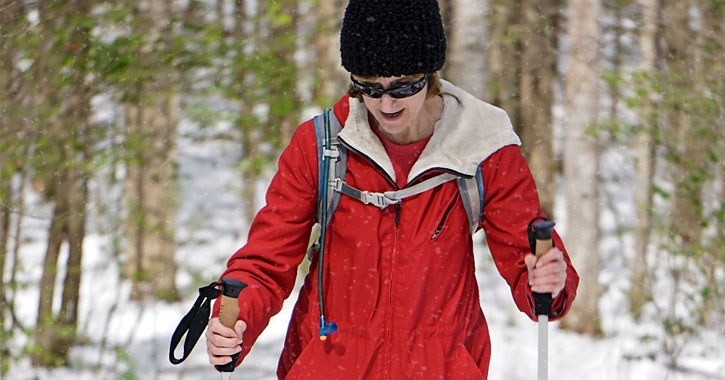 a woman hiking through the woods with poles - either cross-country skiing or snowshoeing