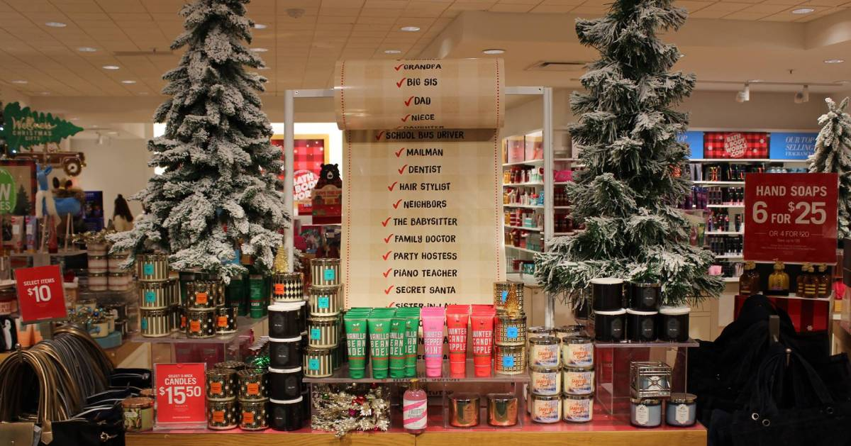 Christmas display in store