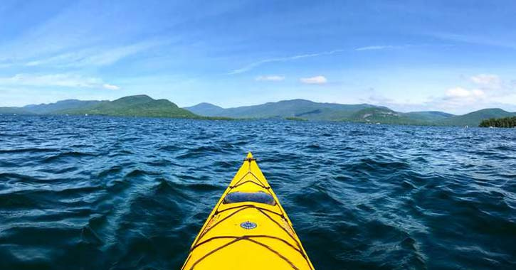 a yellow kayak in the water