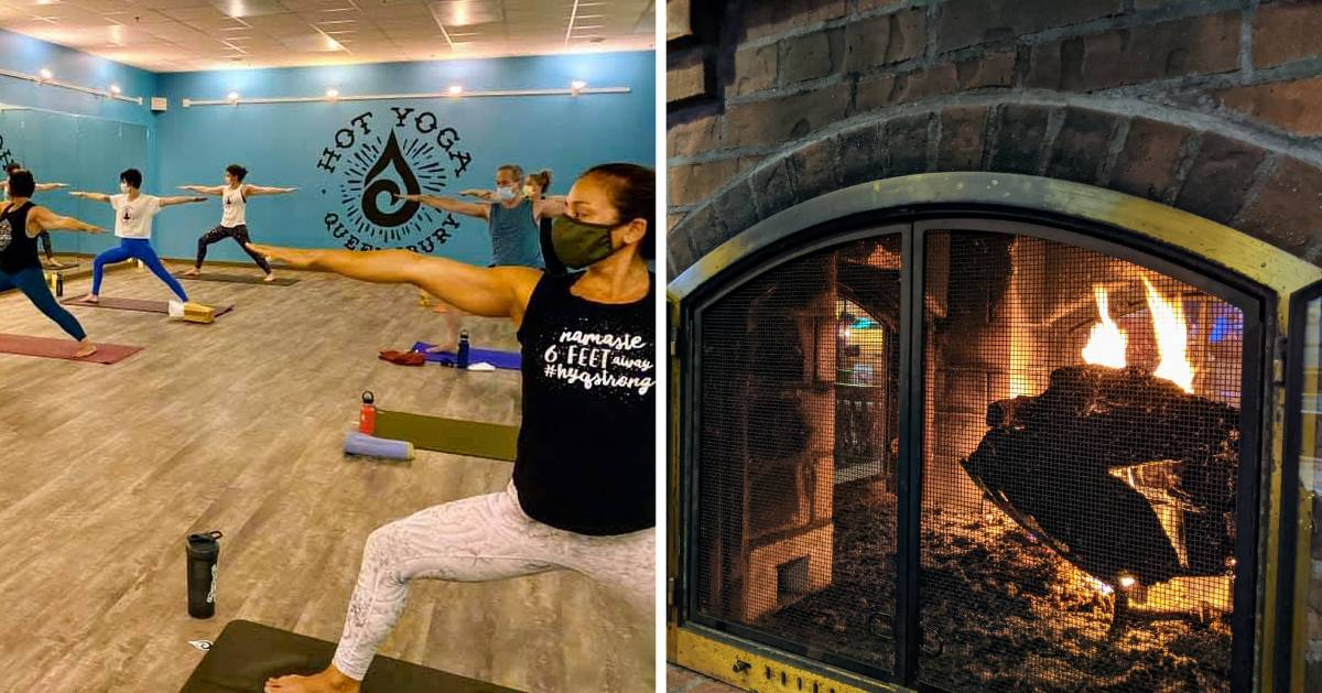 split image with hot yoga studio on the left and a fire in fireplace on the right