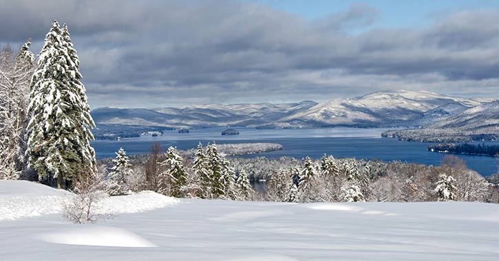 view of lake george in winter