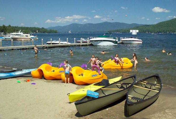 kids playing on paddleboats in lake george