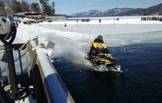 snowmobile on lake george