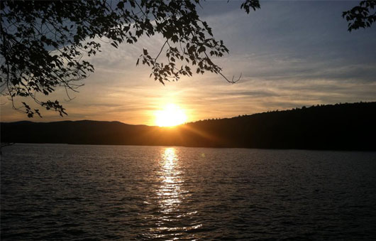 sunset from juanita island lake george