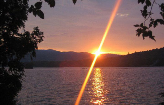 sunset over lake george