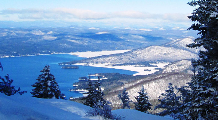 lake george from buck mountain in the winter