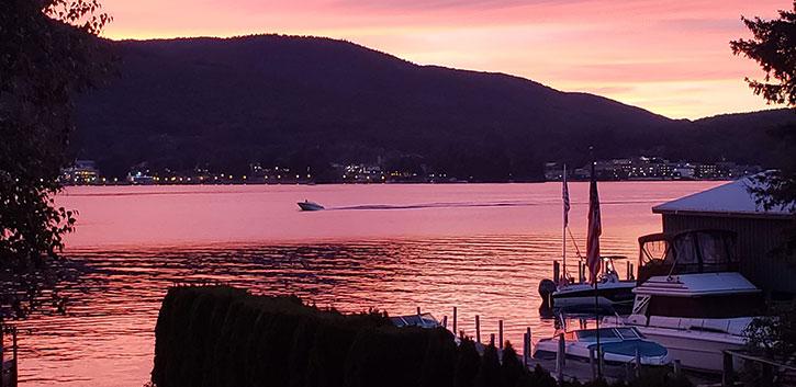 fall sunset on lake george