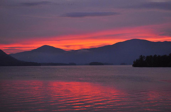 pink sky at night in lake geogrge