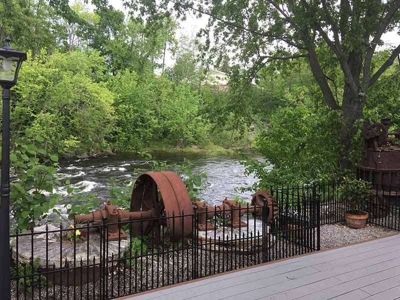 View of the Schroon River and the old mill at The Grist Mill restaurant in Warrensburg
