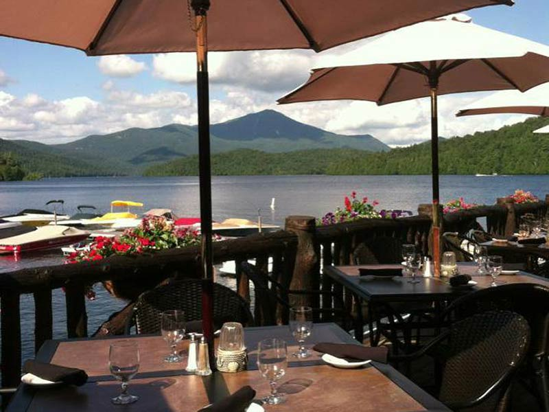 View of Mirrow Lake from the dining patio of the Moose Lodge in Lake Placid