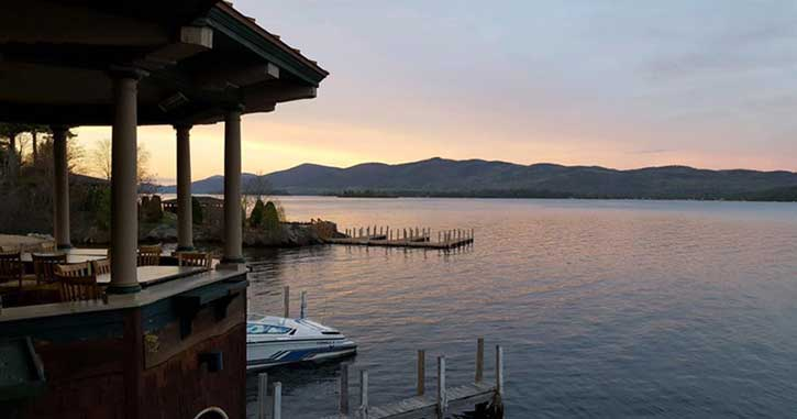 Sunset on Lake George as seen from The Boathouse Restaurant