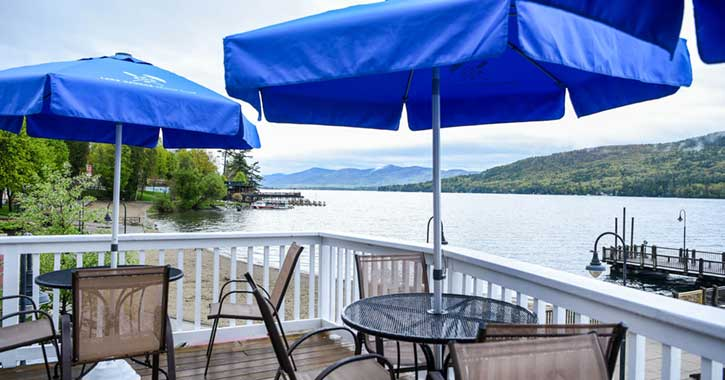 View from the Lake George Beach Club patio