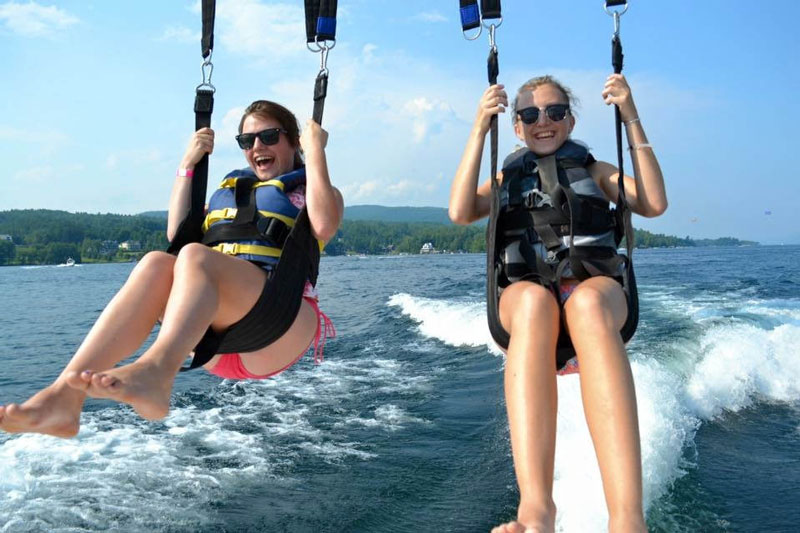 you girls parasailing on lake
