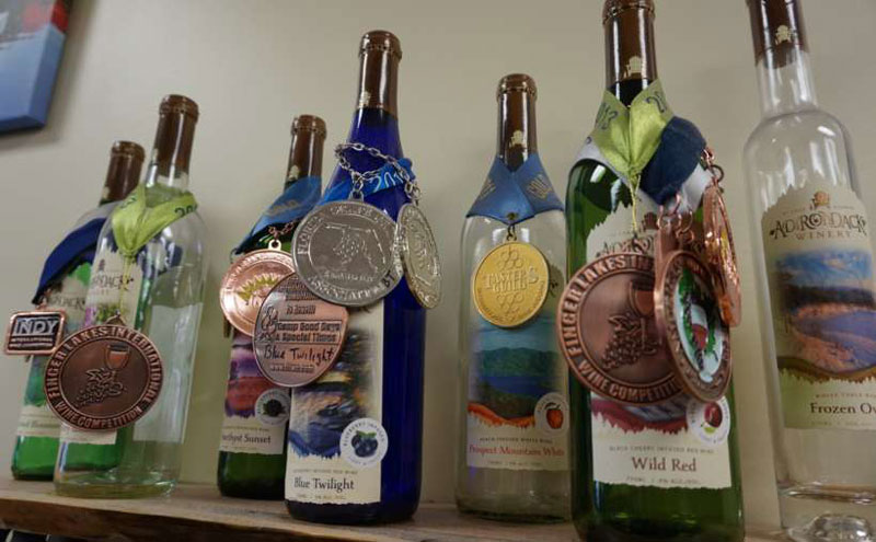 adk winery bottles with award medals