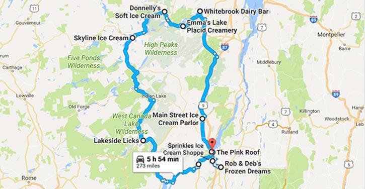 google map ice cream trail