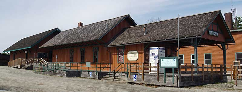 Exterior view of the restored North Creek Depot Museum