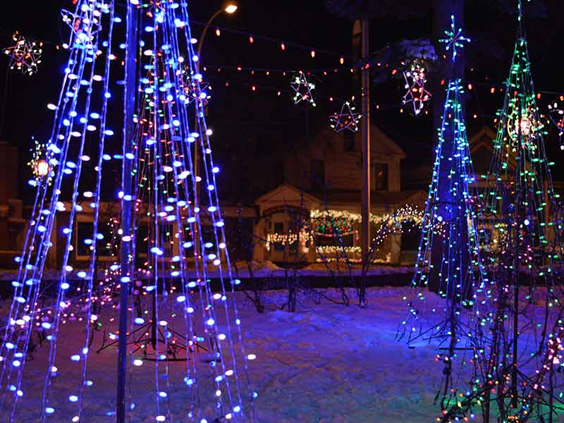 Trees made of Christmas lights and other light displays in Lake George