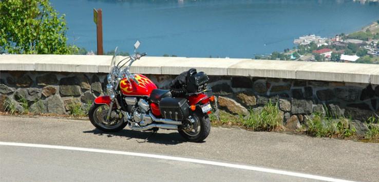 motorcycle overlooking lake george