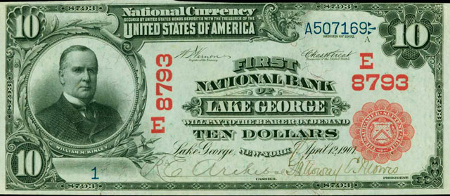lake george bank note front side