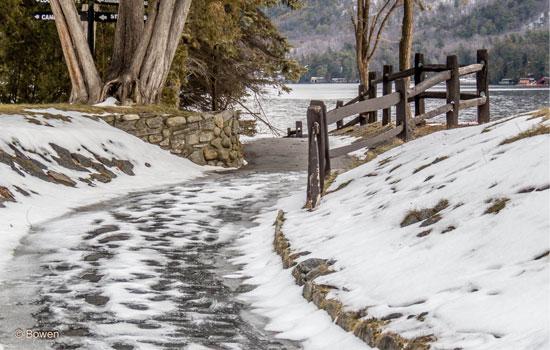 snow and ice near lake george