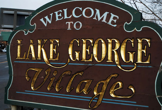 welcome sign for lake george village