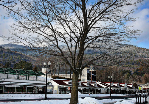 beach road shops by lake george in winter