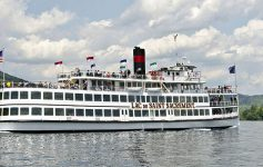 steamboat cruise on lake george in afternoon