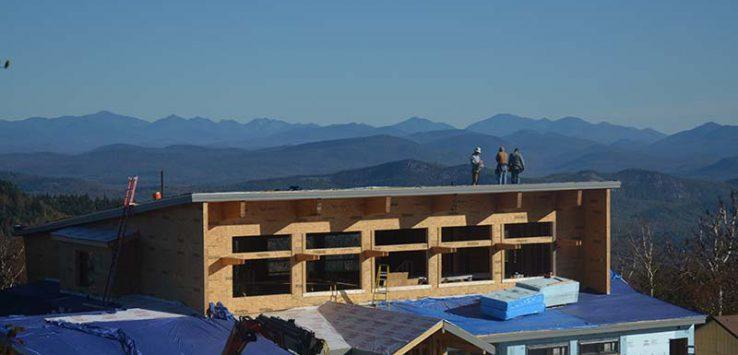 Construction crews work on Gore Mountain's Saddle Lodge
