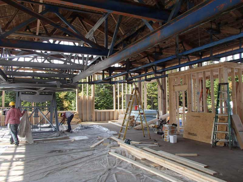 The original lift equipment inside of Straight Brook Lodge on Gore Mountain during construction