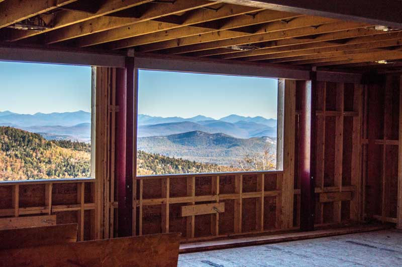 View of the Adirondack High Peaks from the second floor windows of the Saddle Lodge