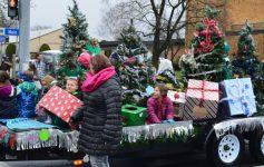 christmas trees at a parade
