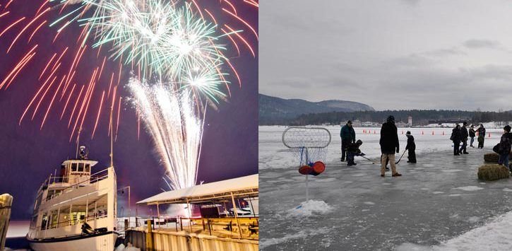 fireworks and ice hockey at carnival