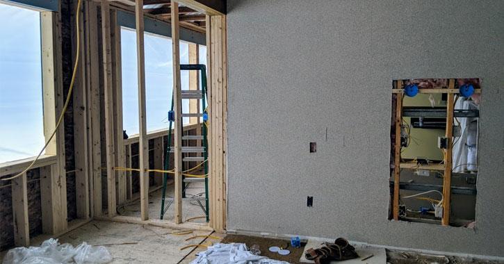 a motel room under renovation