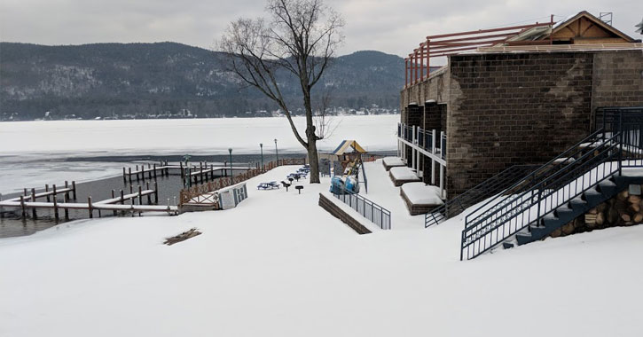 docks and part of the motel all covered in snow