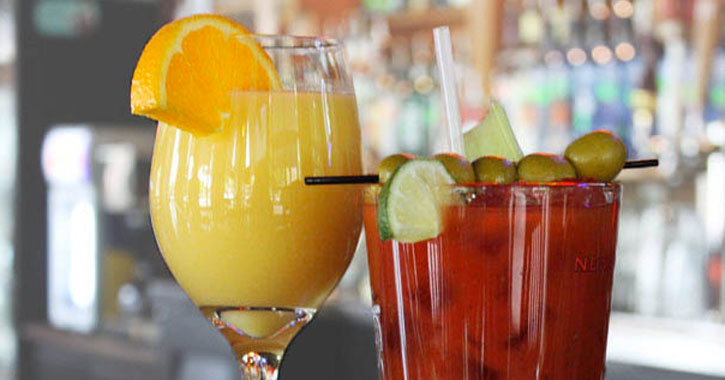 a mimosa and Bloody Mary next to each other