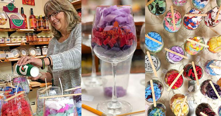 three images side by side of a woman making candles, a candle in a wine glass, and a bunch of wine glasses that are in the process of becoming candles