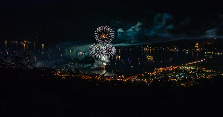 fireworks at night over a lake