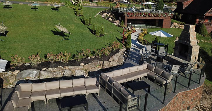 aerial view of an outdoor lounge