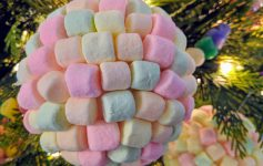 colorful marshmallow decoration on a tree