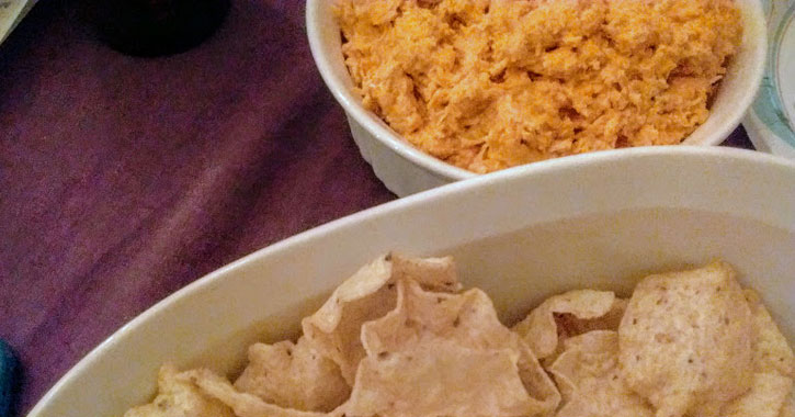 buffalo chicken dip next to chips