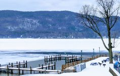 lake docks in the winter