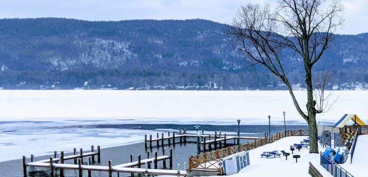 lake docks in the winter